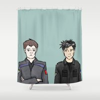 stargate Shower Curtains featuring John and Rodney by dammitspawk