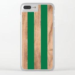 Wood Grain Stripes - Green #319 Clear iPhone Case