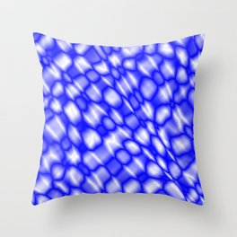 Splashes of paint in a blue diagonal with cracks on the plastic film. Throw Pillow
