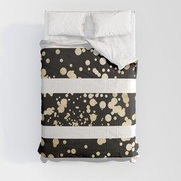 Stylish black and white faux gold confetti stripe Comforters