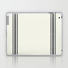 Gray Grey Stripes on light creme french grainsack digital design Laptop & iPad Skin