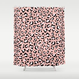 Animal Print, Spotted Leopard - Pink Black Shower Curtain
