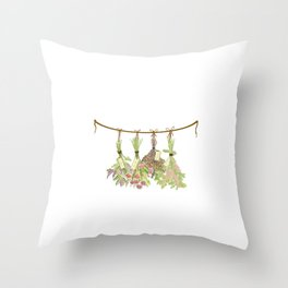 Original Herbs in Pastel Color Throw Pillow