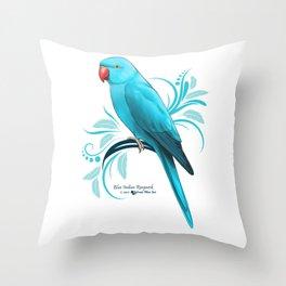 Bue Indian Ringneck Parrot Throw Pillow