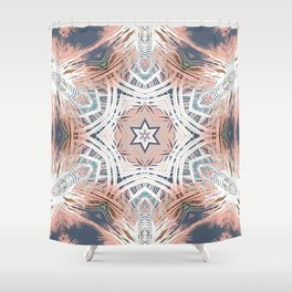 Tribe Coral and Steel Shower Curtain