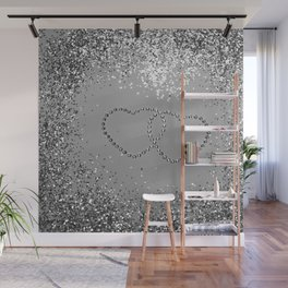 In Love Sparkling Glitter Hearts #3 (Faux Glitter) #silver #decor #art #society6 Wall Mural