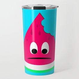 Cute sad bitten piece of watermelon Travel Mug