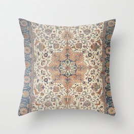 Fine Persia Tabriz Old Century Authentic Colorful Blue Rust Orange Vintage Patterns Throw Pillow