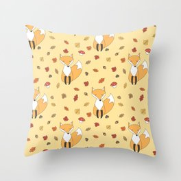 cute autumn pattern with leaves, foxes, mushrooms, acorns and chestnuts Throw Pillow