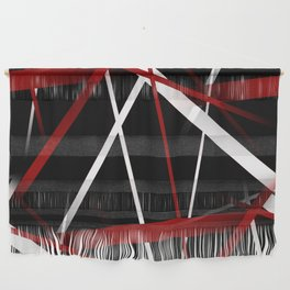 Seamless Red and White Stripes on A Black Background Wall Hanging