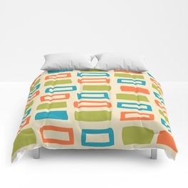 Mid Century Modern Abstract Squares Pattern 742 Olive Orange and Turquoise Comforters