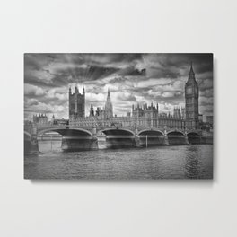 LONDON Westminster Bridge Sunrays Metal Print
