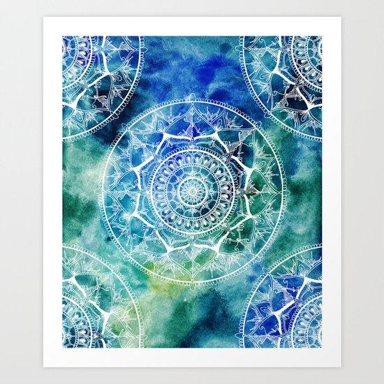 White Circle Mandala on Blue Watercolour Art Print