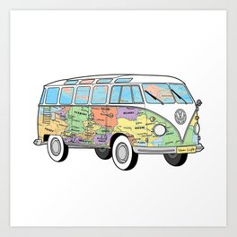 The traveling combi - vanlife vaner Art Print