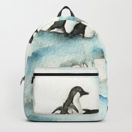 Jumping Penguins - Watercolor Backpack