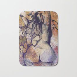 Sugar Coated Sour: Autumn (nude curvy pin up with butterflies) Bath Mat