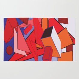 RED SHAPES ON A BLUE BACKGROUND Abstract Art Rug