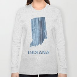 Indiana map outline Light steel blue nebulous watercolor Long Sleeve T-shirt