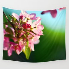 Pink Flowers Blue sky Wall Tapestry