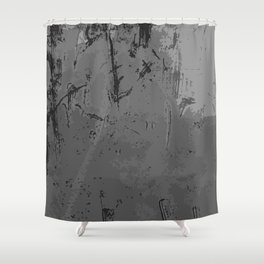 Decay Pattern, Grey/Silver Rust Shower Curtain