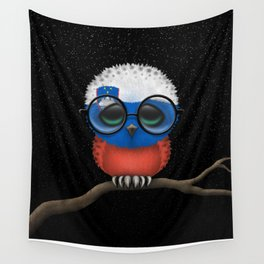 Baby Owl with Glasses and Slovenian Flag Wall Tapestry