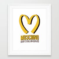 moschino Framed Art Prints featuring MOSCHINO  by Claudio Velázquez