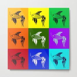 Siamese fighting fish, drawings of rainbow fish, fish Metal Print