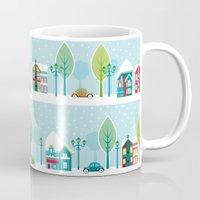 ski Mugs featuring Ski house by Polkip