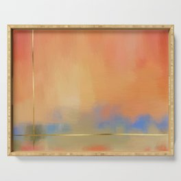 Abstract Landscape With Golden Lines Painting Serving Tray