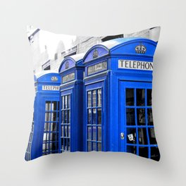 Red Booths Turned Tardis Throw Pillow