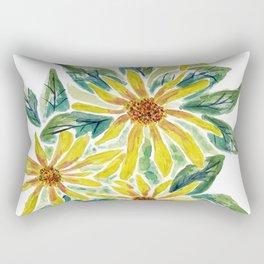 Yellow Watercolor Flowers Rectangular Pillow