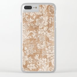Vintage white brown grunge shabby floral Clear iPhone Case