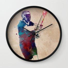 lacrosse sport art #lacrosse #sport Wall Clock