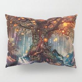 Magnificent Big Marvelous Magic Glowing Fairytale Forest Tree Light Bulbs Dreamland Ultra HD Pillow Sham