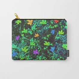 maple leaf in pink blue green orange with green creepers plants Carry-All Pouch