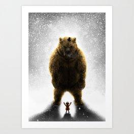 Little girl and her teddy bear Art Print