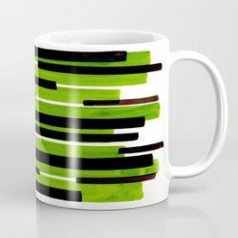 Lime Green Primitive Stripes Mid Century Modern Minimalist Watercolor Gouache Painting Colorful Stri Coffee Mug