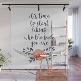 it's time to like yourself (navy and coral) Wall Mural