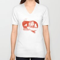 moby dick V-neck T-shirts featuring Moby Dick by Paul McCreery