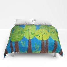 Green Trees Whimsical Folk Art Comforters