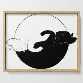 ying yang cats Serving Tray