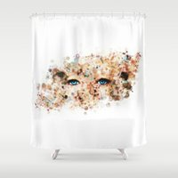 jennifer lawrence Shower Curtains featuring Eyes (Jennifer Lawrence) by Rene Alberto