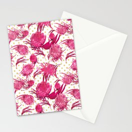 Pink and Gold Australian Native Floral Pattern - Protea, Grevillea and Eucalyptus Stationery Cards
