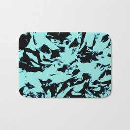 Turquoise Black Abstract Military Camouflage Bath Mat