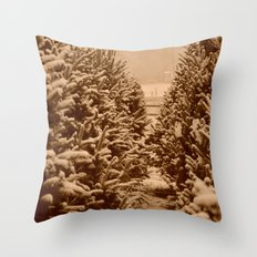 christmas trees past Throw Pillow