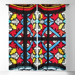 Stained glass window colorful color Blackout Curtain