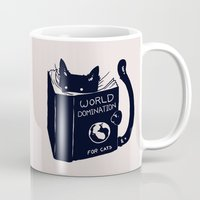 reading Mugs featuring World Domination For Cats by Tobe Fonseca