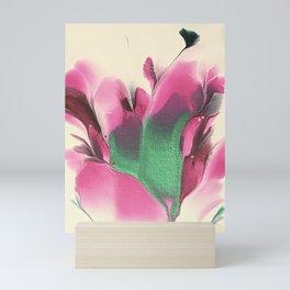 Pink Green Floral Dip Mini Art Print