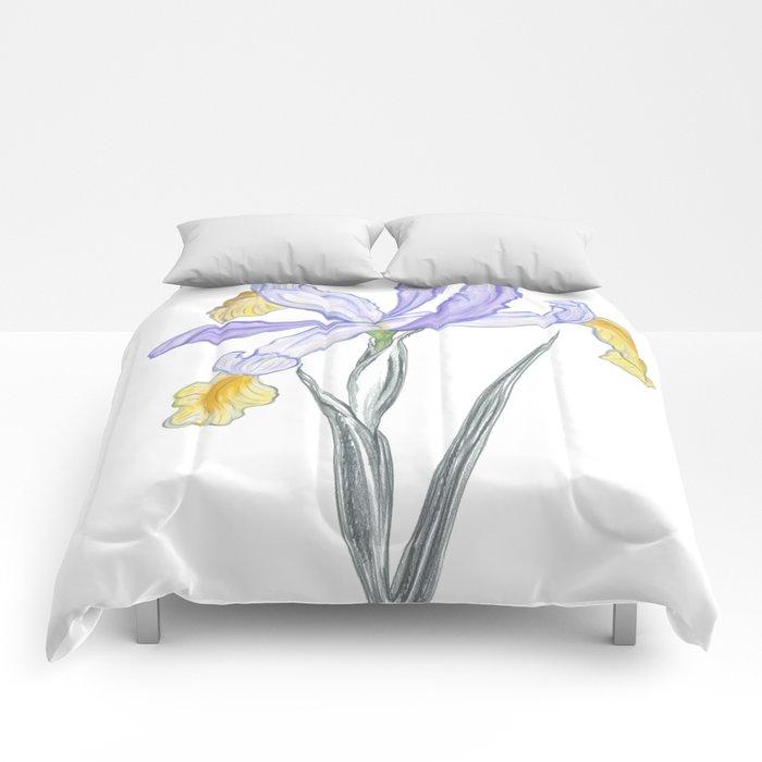 Iris 05 Botanical Flower * Lavender Purple Japanese Iris Comforters