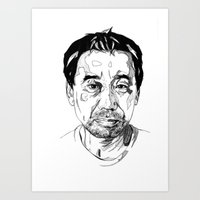 murakami Art Prints featuring Haruki Murakami by Giorgia Ruggeri